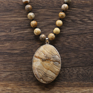 2020 new Natural Stone Necklace Picture stone Pendant Wrap braid Necklace Yoga macrame for men women11