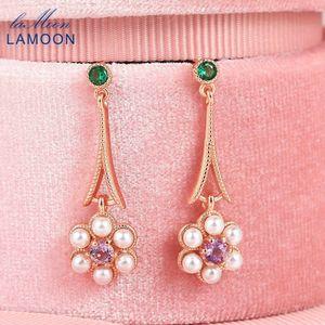 LAMOON 925 Sterling Silver Drop Earring For Women Pearl Flower Amethyst Gemstone Rose Gold Plated Fine Jewelry Korean LMEI091 CX200623