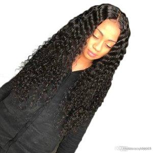 fil bouclés haute température perruque couleur naturelle de cheveux brésiliens Nœuds Blanchis Lace Front Wigs avec les cheveux pleine Fin