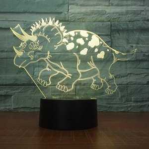 Dinosaur Triceratops 3d Led Acrylic Night Lamp Office Bar Bedroom Mood Lighting 7 Colors Change Illusion Kids Gift Hobby Light Jk0125