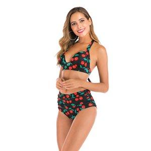 Badeanzug weibliche hohe Taille Er Navel war dünn Split Bikini Sexy Burgundy kleiner Kasten Stahl Unterstützung Gesammelt Hot Spring # 475