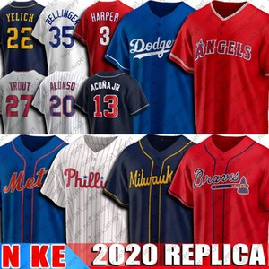 13 Ronald Acuna Jr. Jersey 20 Pete Alonso Jerseys 22 Christian Yelich 35 Cody Bellinger 3 Bryce 27 Mike Trout Harper Baseball Jersey 2020