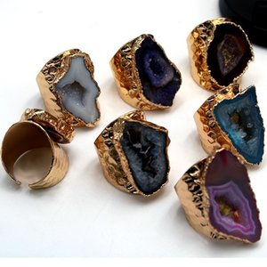 Natural Agate Ring Free Size Royal Color Hollow Agate Stone Ring for Men and Women Fast Shipping