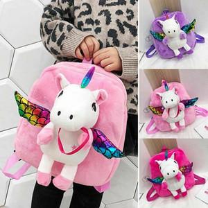 YENİ Kız Peluş Kanat Sırt Çantası Çocuklar Okulu Sırt Çantası çanta SICAK ile Şirin Unicorn