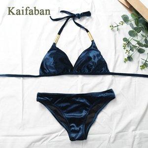 Le donne 3D Velvet Bandage Split Bikini Swimsuit Swimwear femminile due pezzi Beachwear Bathsuit plavky Biquini Tankini plavky Maillot