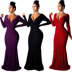 2019 Charming Mermaid Long Evening Dresses Sexy Backless V Neck Long Sleeves Elegant Formal Party Prom Dress Floor Length In Stock