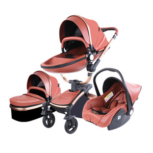 Baby Stroller 3 In 1 Pu Leather High Landscape Stroller 360 Degree Rotation Sitting and Lying Folding Shock Absorption