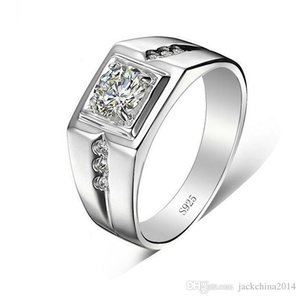 Solitaire luxe gros bijoux en argent sterling 925 blanc Topaze CZ zircon diamant de fiançailles de mariage hommes Bague Taille cadeau 7-12
