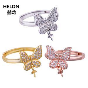 925 anillo de bodas de plata esterlina mujeres compromiso circonio cúbico CZ 7-13mm perla grano redondo semi anillo de montaje al por mayor ajustable