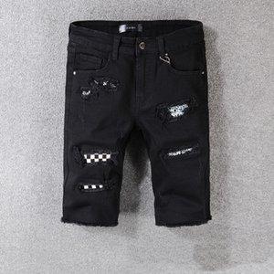 Luxury Fashion Italian design jeans Mens biker pants short Destroyed Stretch Slim Fit Hop Hop Pants With Washed d2 Motocycle Holes jeans