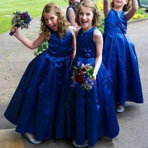 Modest Royal Blue Flower Girl Dresses Birthday Satin 2019 Toddler Kids Pageant First Communion Dress Long Baby Prom Dresses Girl Wear Gowns