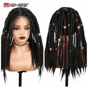 Synthetic Wignee Preto Perucas Dreadlock Dreads da Mulher Negra High Temperature trança Crochet Torça Fiber Africano perucas de cabelo