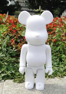400% Bearbrick Bear @ brick Diy Paint Pvc figura de acción Colección de color blanco con bolso Opp regalo para niños Ag108 Y19062901