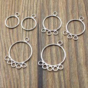 4pcs / lot Brinco Acessórios 925 Sterling Silver Jewelry Encontrando Ear Hoop DIY conector Dangle para Brinco de Argola fazer jóias