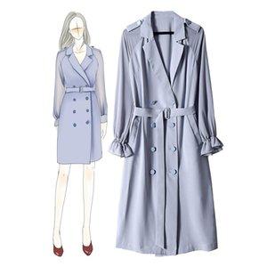 2020 autunno cadono bianco a maniche lunghe intaglio-risvolto minimalista Plain cintura Bottoni Particolare doppio petto Fashion Dress Abiti O15991606