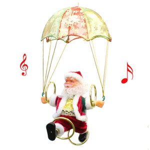 Electric Christmas Santa Claus Toy Hanging Rotation Parachute Turn Musical Pendant Christmas Gift For Child Toy Party Supplies New BC VT1190