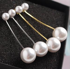 8mm + 16mm Orecchini di perle Doppio Big Pearl con catena d'argento oro Catena lunga dichiarazione di nappa ciondola gli orecchini dell'orecchino per le nozze del partito