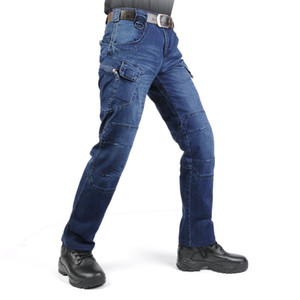 Mcikkny Men's Cargo Casual Jeans Pants With Multi-pockets Motorcycle Denim Trousers  Style For Men's Outdoor Jeans Blue
