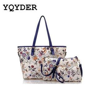 2017 дамы сумка цветок печати сумки кожаный композитный мешок для женщин 3ps / set известный дизайнер сумки на ремне Bolsa Sac Y190620