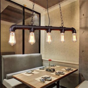 Metal water pipe pendant lamp for clothes store cafe bar dining room vintage retro pendant lights