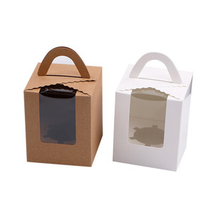Tek Cupcake Kutuları ile Şeffaf Pencere Kolu Taşınabilir Macaron Kutusu Mousse Kek Snack Kutu Kağıt Ambalaj Kutu doğum günü partisi Tedarik T0628