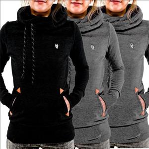 2019 Herbst-Frauen-Tasche Hoody Hoodie Langarm-T-Shirt Pullover Pullover Mantel Top Schwarz Grau beiläufige dünne