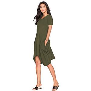 Mingxuan Женщины платье, лето Maxi платье, O-образный вырез с коротким рукавом два боковых кармана длинного платья цветочного принта