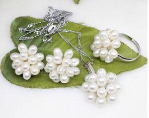 Jewelryr Perle Set Pretty Natural White Rice Süßwasserperlen Cluster Ohrringe Halskette Ring Set Freies Verschiffen