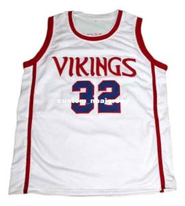 toptan Johnson # 32 Vikingler Lisesi Yeni Basketbol Jersey Beyaz Dikişli Özel herhangi bir sayı adı BAY BAYAN GENÇLİK BASKETBOL formaları