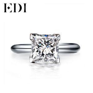 Edi 1ct Princess Cut Classic Moissanites Бриллиантовое Кольцо 14 К Белое Золото Обручальные Кольца Для Женщин Y19052301