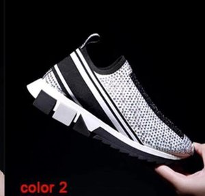 New Women &#039 ;S Sorrento Sneakers With Rhinestone Crystal Men &#039 ;S Set Foot Sneakers Stretch Mesh Black White Red Flash Runner Flat T