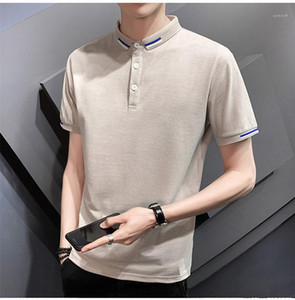 Polo para hombre respirable del verano maduro masculino camisetas de moda para hombre de negocios manga corta Tops rayado de color sólido