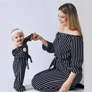 Pudcoco Loisirs Mère et Fille Casual Boho Stripe Maxi Dress Trendy Maman me Outwear pour les Tenues assortis filles