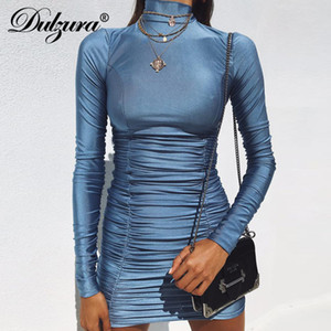 Dulzura Frauen sexy bodycon Minikleid 2018 Herbst winter Kleidung Langarm high neck smocking party Kleider