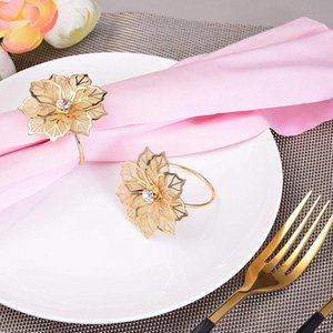 6Pcs Napkin Rings with Hollow Out Flower for Wedding Banquet Dinner Party Birthdays Family Gatherings Table Decor Napkin Holder