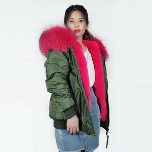 Bombardıman Büyük yaka Kış Coat Desen Ceket womens içindeki Pembe yapay Kürk ile Ordu yeşil bombacı Ceket kadın