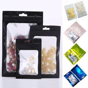 Zip-lock resellable esmerilado Bolsa regalos de la máscara de embalaje en bolsas a granel Alimentos Olor Prueba Bolsas Mylar Anillos collar de la joyería bolsa de autocierre hermético paquete