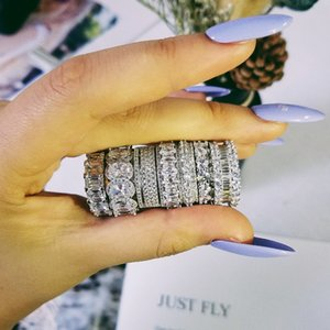 de lujo 925 de bodas de plata anillo de la eternidad banda para las mujeres gran regalo para las damas amor mayor de joyería de mucha mayor R4577