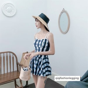 Skirt-style one-piece swimsuit female Conservative slim slim belly-covering student Xiaoqingxin hot spring swimming suit