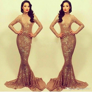 2019 New Robe de soiree Gorgeous Gold Sequin Mermaid Evening Dress Prom Dresses With High neck Long sleeve Formal Party Dress 2018