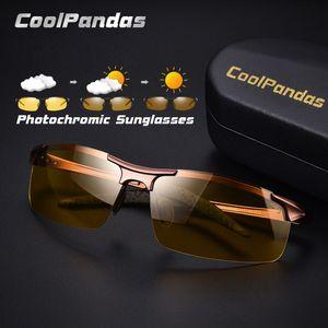 CoolPandas Gelbe Linse ändern Brown Photochromic Sonnenbrille Männer polarisierten Nachtsicht-Driving Gläser Oculos zonnebril heren