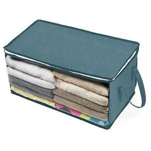Folding armazenamento Box Roupeiro Roupa Coleta Caixa Tecido Caso Non Woven Com Zipper Moistureproof Brinquedos Quilt Armazenamento 58 * 31 * 30 centímetros DBC BH3558