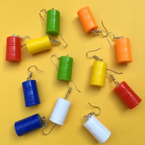 Creative Simulation Paint Bucket Resin Earrings Funny Statement Multicolor Dangle Earrings Women Simple Chic Jewelry Girl Gift Drop Shipping