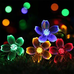 LED Peach Sakura Solar Powered Light Halloween Christmas Decorations 50 Light Outdoor Garden Patio Party Holiday Supplies