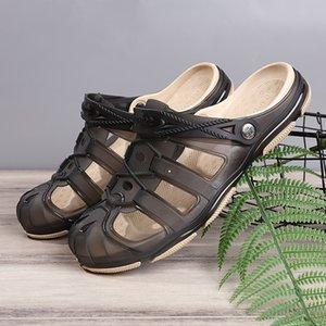 Verão porosos Shoes HOMENS Praia Sapatos estilo coreano Sandals Men Wading Tamanho Grande Closed-toe antiderrapante Casual Sandals respirável