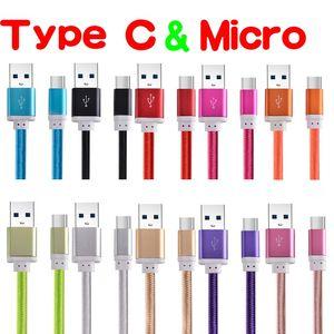 Tipo C Micro 1.5M cavo USB 5 piedi di alluminio del metallo intrecciato nylon tessuto Caricabatterie Charging Cables per Samsung S6 S7 S8 S9 S10 htc lg