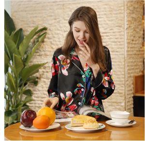 Yao Ting yeni ipek pijama bayanlar uzun kollu pantolon ev hizmeti takım bahar