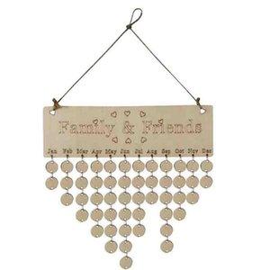 Holz Birthday Reminder Brett Birke Plaque-Zeichen DIY Kalender Zubehör Besondere Termine Planer Brett Haken hängen Deco # 20