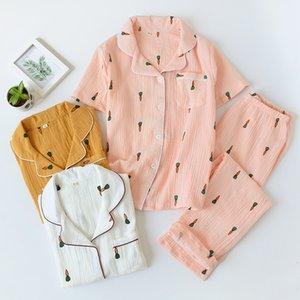 100% Baumwolle Krepp Radish Druck Pyjamas Sommer Home Short Sleeve Hosen Pyjamas Damen Loungenachtwäsche Sexy Nachtwäsche
