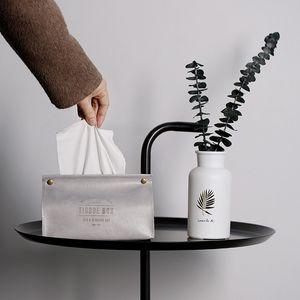 Serviette conteneur serviette tissu Porte-Ins Nordic cuir tissu Boîte distributeur de papier Porte-Case pour bureau Décoration
